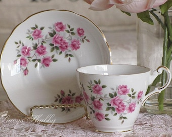 Lovely English REGENCY Pink Roses TEACUP and SAUCER, Bone China, England, Tea Time, Teacup Set, Shabby Chic, Cottage, Tea, Cup, Display