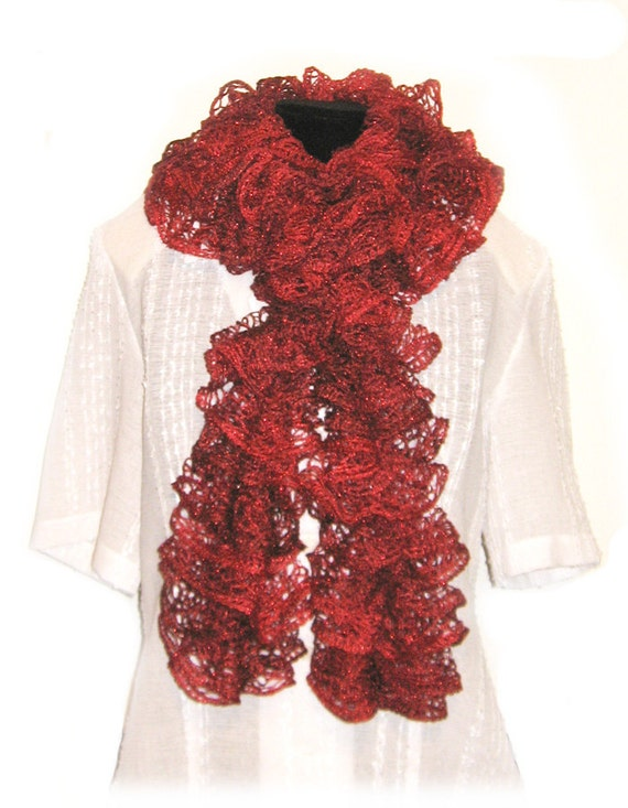 Ruffle Scarf Handmade Knitted Red Heart Sashay Yarn Metallic