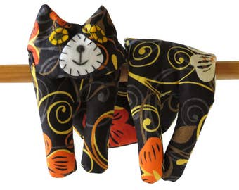 Flat Cat, Hot Cold Rice Bag, Microwave Neck Wrap, Rice Heating Pad, Hot Cold Therapy Pack, Black Yellow Orange, Cat Lover Gift