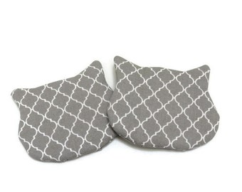 Cat Shaped Coasters, Drink Mats, Grey & White, Fabric Coasters, Set of 2, Cat Lovers Gift, Gift for Her, Gift for Him