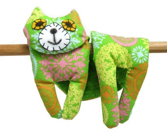 Flat Cat, Hot Cold Rice Bag, Microwave Neck Wrap, Rice Heating Pad, Hot Cold Therapy Pack, Lime Green Yellow Pink Orange Blue #2, Cat Lover