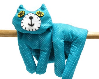 Flat Cat, Hot Cold Rice Bag, Microwave Neck Wrap, Rice Heating Pad, Hot Cold Therapy Pack, Turquoise Blue White Spots