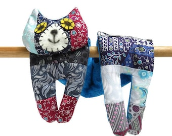 Flat Cat, Hot Cold Rice Bag, Microwave Neck Wrap, Rice Heating Pad, Hot Cold Therapy Pack, Blue Black Grey Red Silver Patchwork, Cat Lover