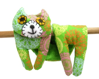 Flat Cat, Hot Cold Rice Bag, Microwave Neck Wrap, Rice Heating Pad, Hot Cold Therapy Pack, Lime Green Yellow Pink Orange Blue #3, Cat Lover