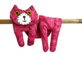 Flat Cat, Hot Cold Rice Bag, Microwave Neck Wrap, Rice Heating Pad, Hot Cold Therapy Pack, Raspberry Pink Swirl Batik