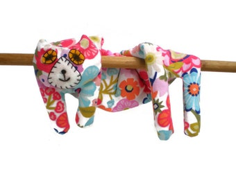 Flat Cat Neck Rice Heat Pad - Hot Cold Rice Bag - Microwave Neck Wrap - Rice Heating Pad - Hot Cold Therapy Pack - Pink Blue White Flowers