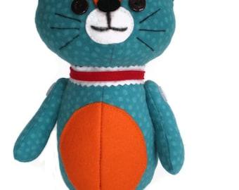 Kitten Softie Kittie Cat Art Doll Blue with White Spots Orange Accents & Red Collar OOAK