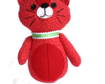 Kitten Softie Kittie Cat Art Doll Red & White with Red Accents and Lime Green Collar OOAK