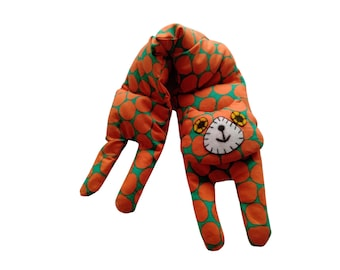 Flat Cat, Hot Cold Rice Bag, Microwave Neck Wrap, Rice Heating Pad, Hot Cold Therapy Pack, Orange Green Ovoid Spots