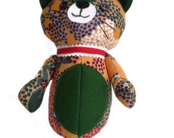 Kitten Softie Kittie Cat Art Doll Orange Blue Green Red & White with Dark Green Accents and Red Collar OOAK