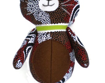 Kitten Softie Kittie Cat Art Doll Brown White & Black with Chocolate Brown Accents and Lime Green Collar OOAK