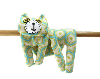 Flat Cat, Hot Cold Rice Bag, Microwave Neck Wrap, Rice Heating Pad, Hot Cold Therapy Pack, Turquoise Blue Yellow Hexagons