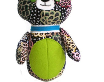 Kitten Softie Kittie Cat Art Doll Black White Green Pink with Lime Green Accents and Blue Collar OOAK