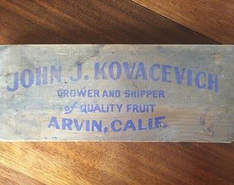 Vintage Crate Remnant John J Kovacevich Arvin, California