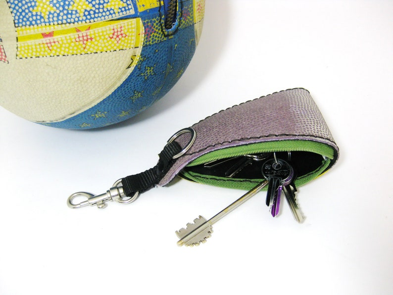 gift for basketball lover vegan pouch Snaphook eco keypouch vegan keyring lunchmoney pouch