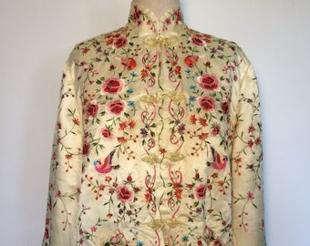 1171a6f7b0 Vintage Plum Blossoms Chinese Silk Embroidered Jacket