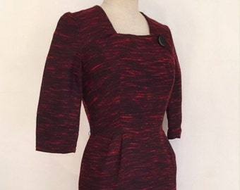 Vintage 50s burgundy wiggle dress