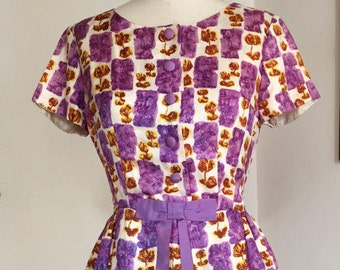 Vintage 50s 60s watercolor dress AS IS