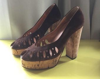 1c9b0fcb3db Vintage 70s Platform Shoes As Is