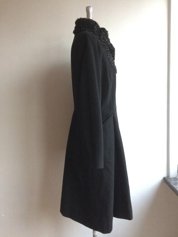 Vintage 1950s Black Wool Princess Coat New Look - image 4