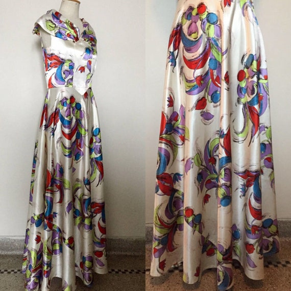 Vintage 30s Satin Gown with Novelty Print