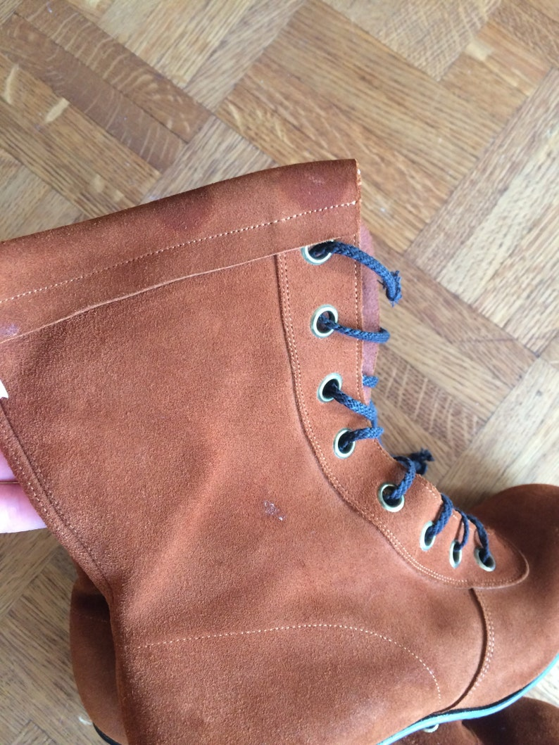 Vintage 1960s Brown Suede Lace Up Boots Deadstock