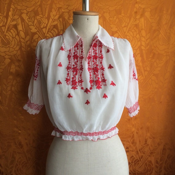 Vintage 1940s Hungarian Embroidered Peasant Blouse