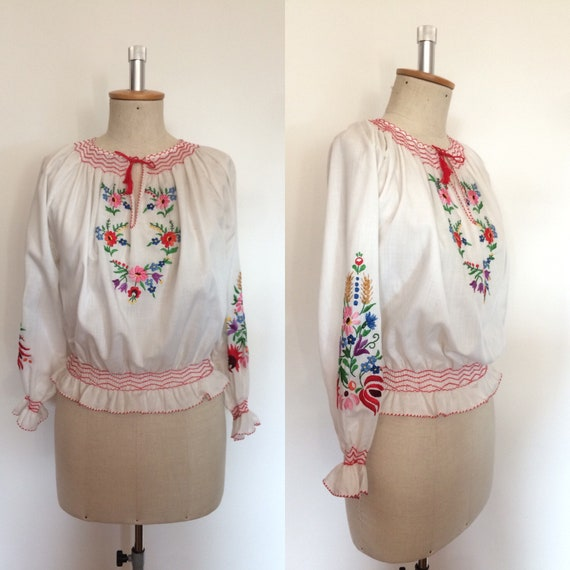 Vintage 1970s Hungarian Embroidered Peasant Blouse