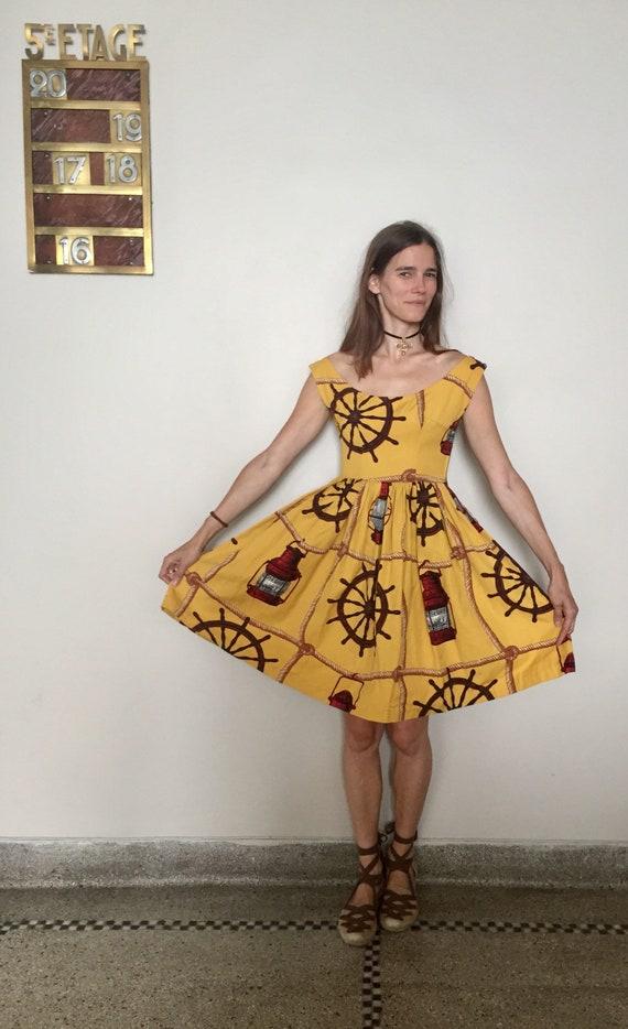 Vintage 50s Mustard Novelty Print Dress XS