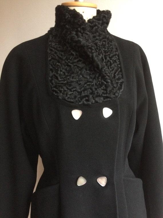 Vintage 1950s Black Wool Princess Coat New Look - image 6