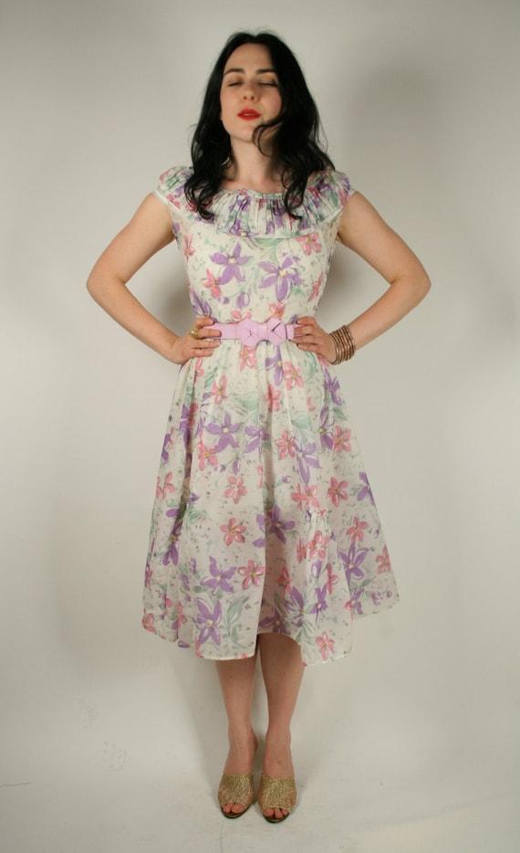 Vintage 50s white sheer full skirt floral dress
