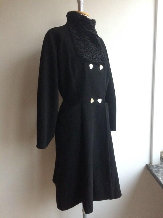 Vintage 1950s Black Wool Princess Coat New Look - image 3