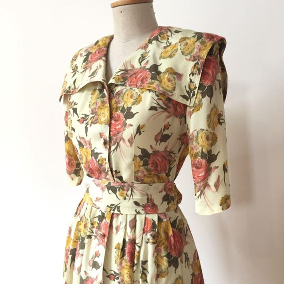 Vintage 80s does 50s Dress with Rose Print