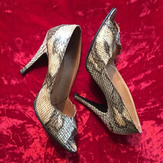 96fd2a0cba4036 Vintage des années années années 70 en peau de serpent escarpins haut talon  chaussures escarpins | Un Prix Raisonnable ca1d98