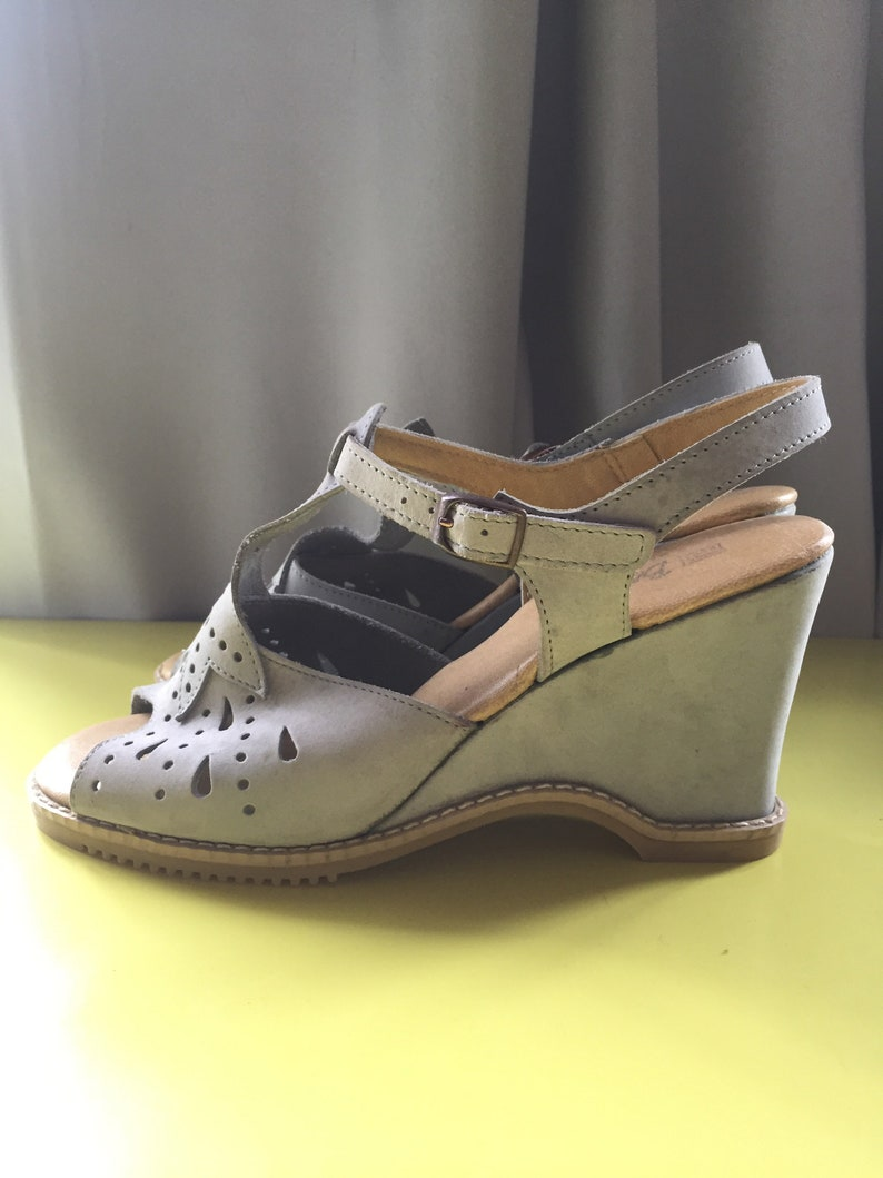 Vintage 70s Wedges Shoes Baby Blue
