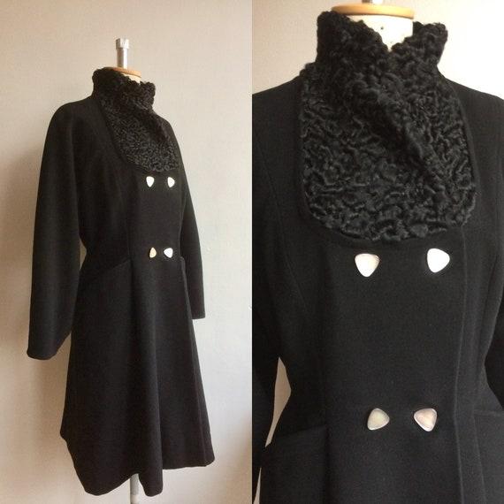 Vintage 1950s Black Wool Princess Coat New Look - image 1