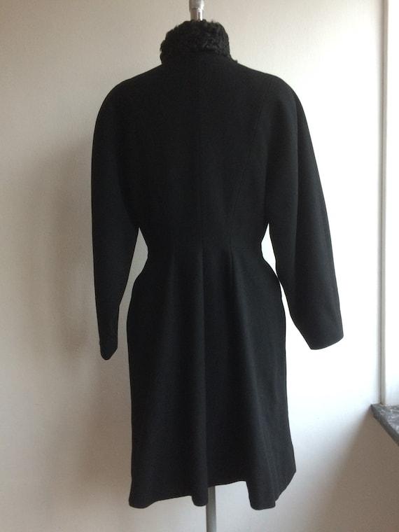 Vintage 1950s Black Wool Princess Coat New Look - image 5