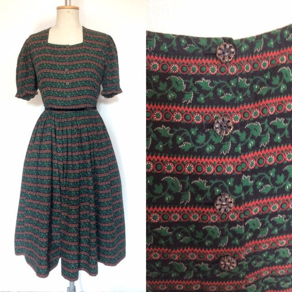 Vintage 1950s Stripe Print Peasant Dress