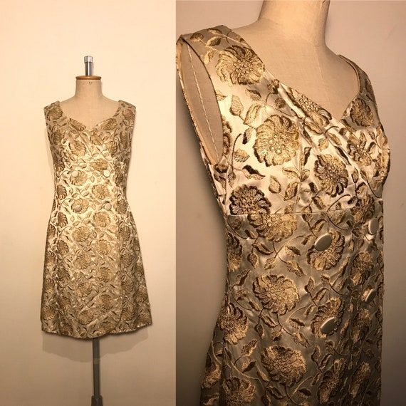 Vintage 1960s Embroidered Satin Dress
