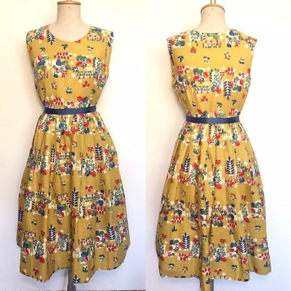 Vintage 1950s Novelty Print Dress M