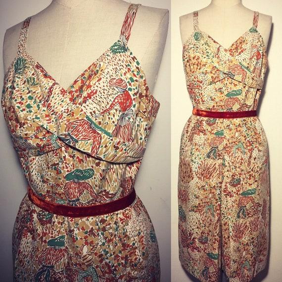 Vintage 50s Novelty Print Dress Cotton