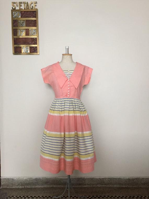 Vintage 40s 50s pink pastel summer dress sailorett