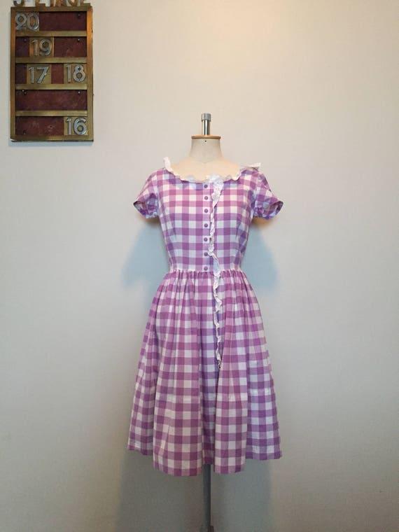 Vintage 50s Purple Gingham Dress