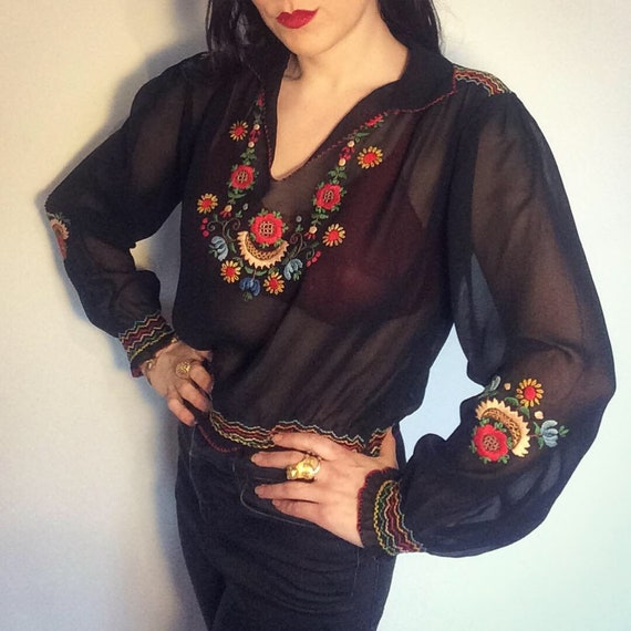Vintage 40s 50s Embroidered Black Hungarian Blouse