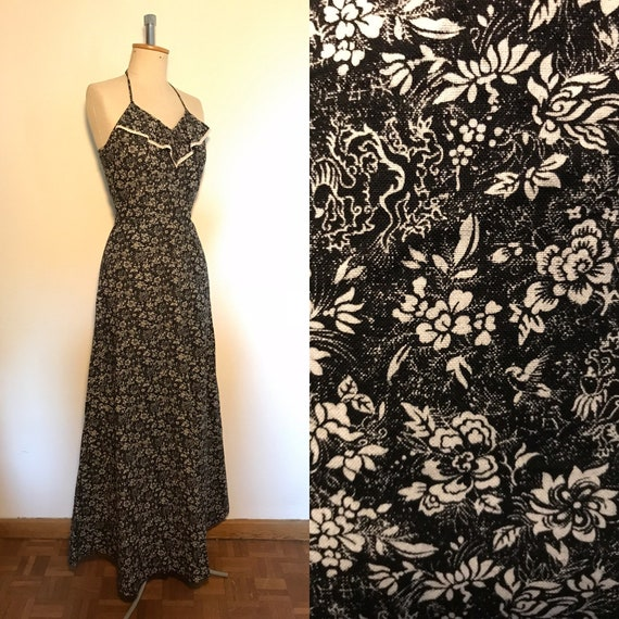Vintage 1970s Maxi Halter Dress Cotton Novelty Pri