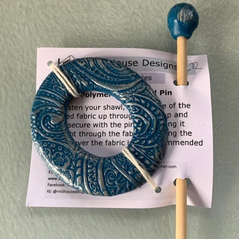polymer clay shawl pin handmade shawl pin Shawl Pin