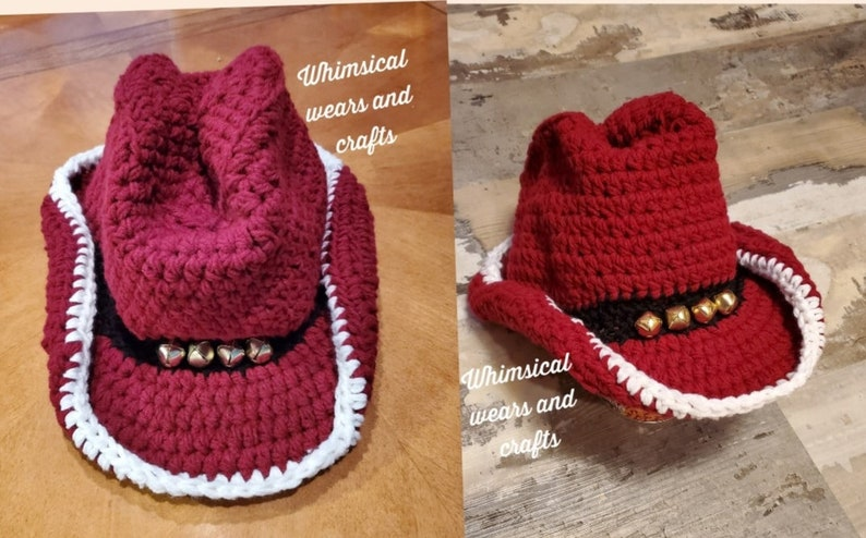 infant adult sizes. Cowboy cowgirl crochet Christmas hat teen baby bells toddler