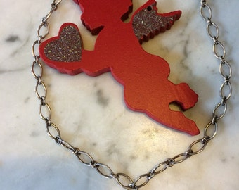 Floating Heart Sterling Retro Valentine Necklace Heavy