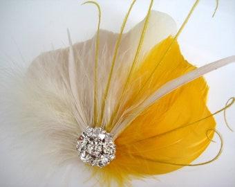 Wedding Bridal Ivory Golden Yellow Champagne Feather Rhinestone Jewel Head Piece Hair Clip Fascinator Accessory