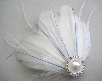 Wedding Bridal White Light Ivory Blue Feather Rhinestone Jewel Head Piece Hair Clip Fascinator Accessory